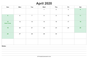 april 2020 calendar with us holidays and notes landscape layout