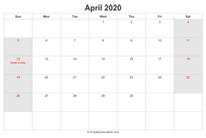 april 2020 calendar with us holidays highlighted landscape layout