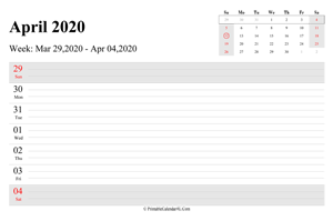 april 2020 weekly calendar with us holidays landscape layout