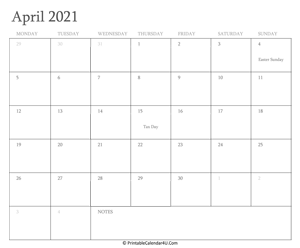 april 2021 calendar printable with holidays