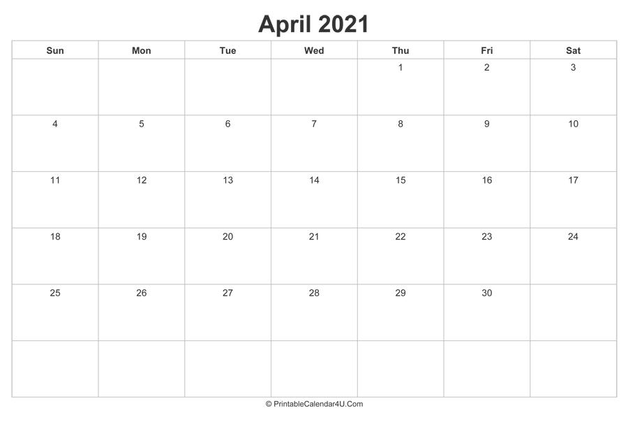 April 2021 Calendar Printable (Landscape Layout)