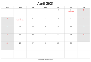 april 2021 calendar with uk bank holidays highlighted landscape layout
