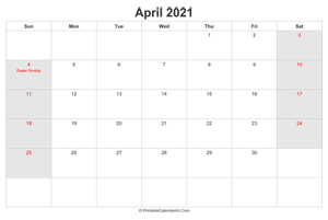 april 2021 calendar with us holidays highlighted landscape layout