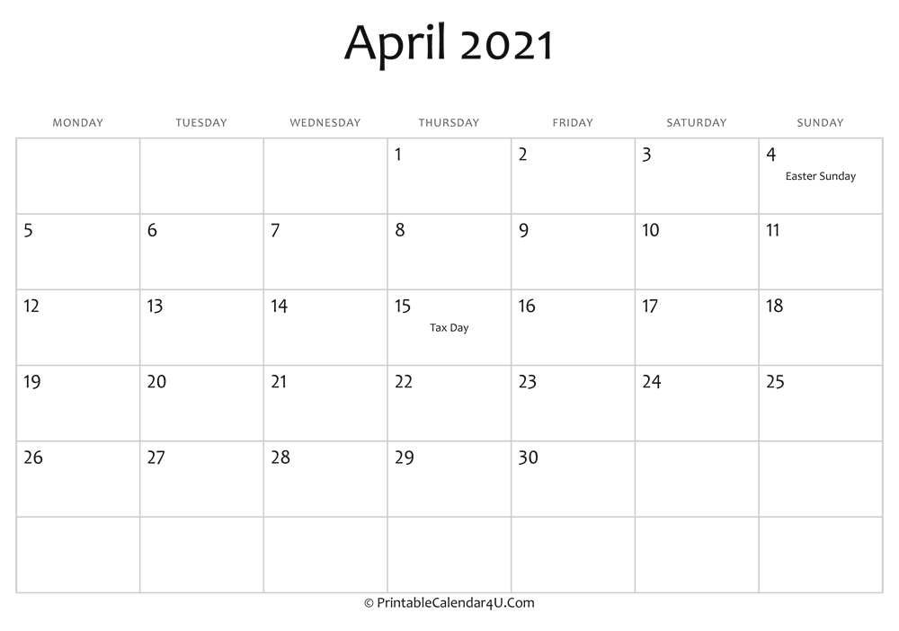 april 2021 editable calendar with holidays