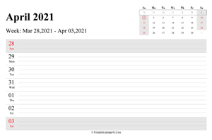 april 2021 weekly calendar with us holidays landscape layout
