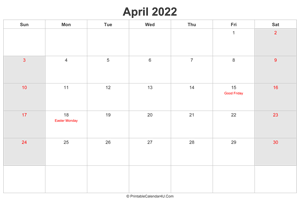 april 2022 calendar with uk bank holidays highlighted landscape layout
