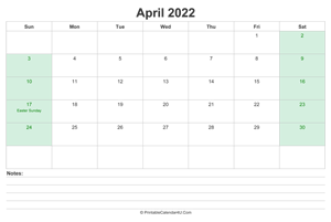 april 2022 calendar with us holidays and notes landscape layout