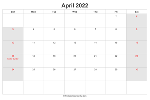 april 2022 calendar with us holidays highlighted landscape layout