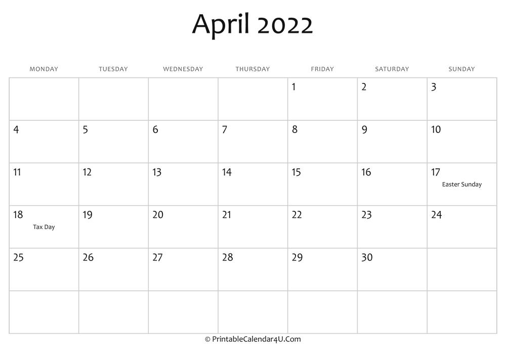 April 2022 Calendar Printable.April 2022 Editable Calendar With Holidays