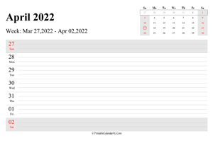 april 2022 weekly calendar with us holidays landscape layout