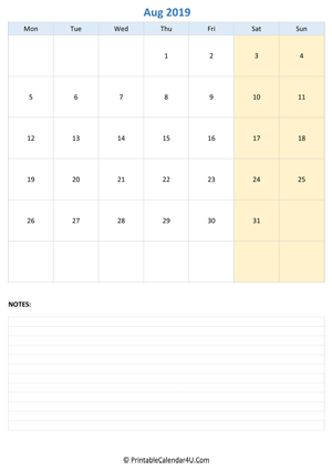 august 2019 calendar editable notes vertical layout