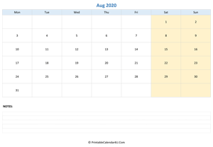 august 2020 calendar editable with notes horizontal layout