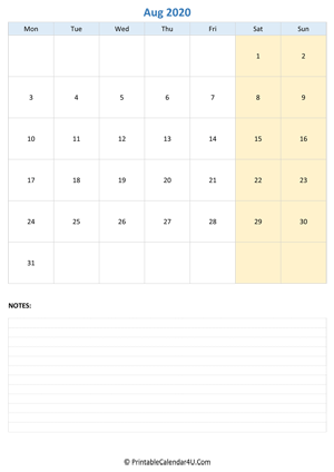 august 2020 calendar editable notes vertical layout