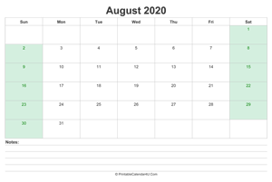 august 2020 calendar with us holidays and notes landscape layout