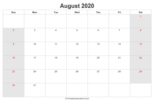 august 2020 calendar with us holidays highlighted landscape layout