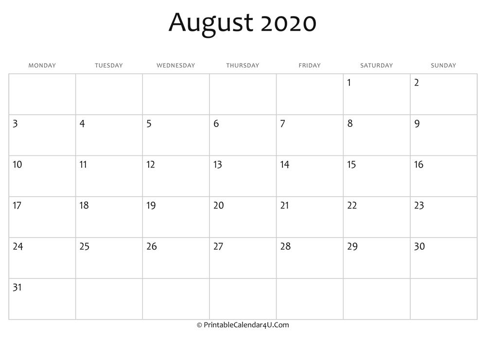 Blank Calendar August 2020.August 2020 Editable Calendar With Holidays
