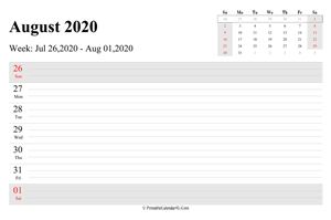 august 2020 weekly calendar with us holidays landscape layout
