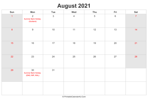 august 2021 calendar with uk bank holidays highlighted landscape layout