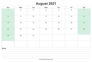august 2021 calendar with us holidays and notes landscape layout