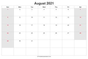 august 2021 calendar with us holidays highlighted landscape layout