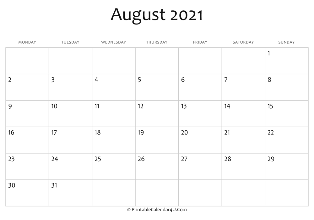 august 2021 editable calendar with holidays