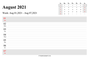 august 2021 weekly calendar with us holidays landscape layout
