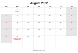 august 2022 calendar with uk bank holidays highlighted landscape layout