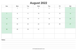 august 2022 calendar with us holidays and notes landscape layout