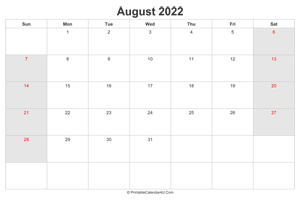 august 2022 calendar with us holidays highlighted landscape layout