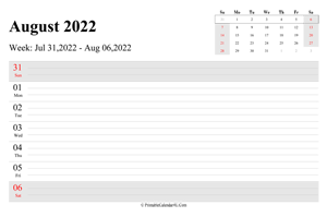 august 2022 weekly calendar with us holidays landscape layout