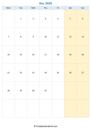 blank calendar december 2020 vertical layout