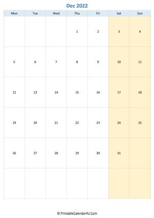 Editable Calendar December 2022.Printable December Calendar 2022 With Notes Portrait