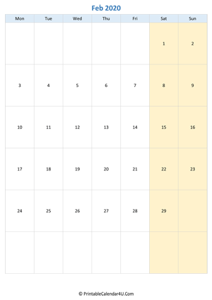 blank calendar february 2020 vertical layout