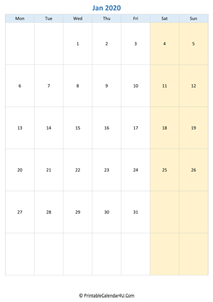 blank calendar january 2020 vertical layout
