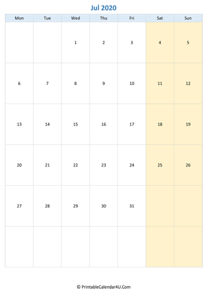 blank calendar july 2020 vertical layout