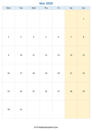 blank calendar march 2020 vertical layout