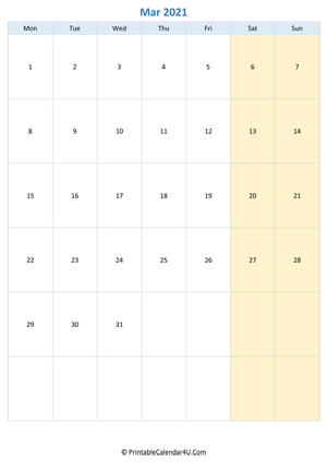 blank calendar march 2021 vertical layout