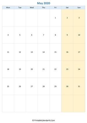 blank calendar may 2020 vertical layout