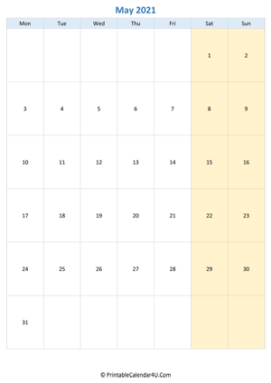 blank calendar may 2021 vertical layout