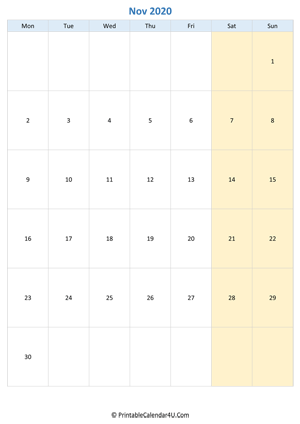 Blank Calendar November 2020.Printable November Calendar 2020 With Notes Portrait