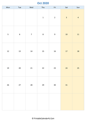 blank calendar october 2020 vertical layout