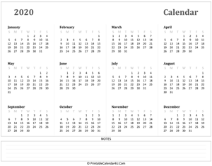 calendar 2020 has week starts on sunday landscape layout