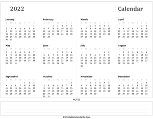 calendar 2022 has week starts on sunday landscape layout