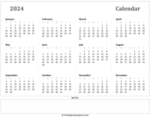 Printable Yearly Calendar 2024