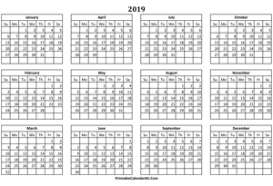 calendar yearly 2019 landscape layout