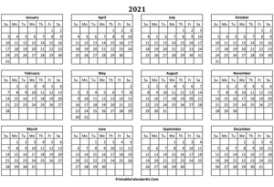 calendar yearly 2021 landscape layout