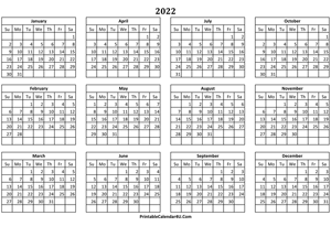calendar yearly 2022 landscape layout