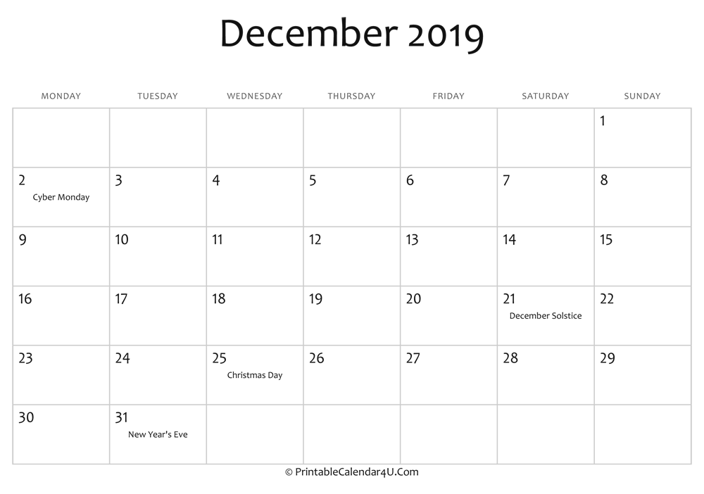 December 2019 Calendar Template from printablecalendar4u.com