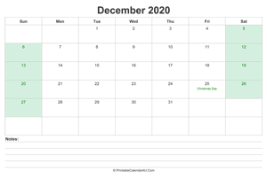 december 2020 calendar with us holidays and notes landscape layout