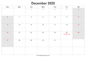 december 2020 calendar with us holidays highlighted landscape layout